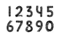 Siffrauppsättninghand som dras med den torra borsten nummer Busen slår modern kalligrafitextstil vektor svart white stock illustrationer
