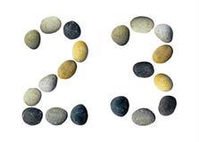 Siffror 2, 3 gjorde av kiselstenar Royaltyfri Foto