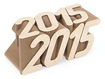 2015 siffror komponerade av genomskurna wood paneler på vit Royaltyfri Bild