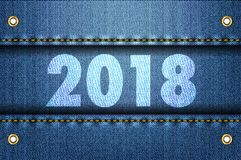 2018 siffror på jeansbakgrund Royaltyfria Foton