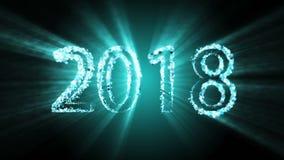 2018 siffror som avslöjer från färgrika konfettier på en mörk bakgrund