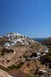 Sifnos-Cyglades-Greece. The castle is built on a rocky hill and there has been in the to the ancient capital of Sifnos island Stock Images