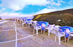 Sifnos castle Cyclades Greece. Greek tavern at the castle of Sifnos island Cyclades Greece Royalty Free Stock Photos