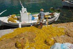 Sifnos-Cyglades-Greece. Nets at the port of Cherronissos Stock Photography