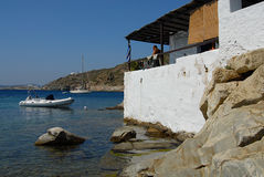 Sifnos. Picturesque seaside tavern in Faro Stock Photos