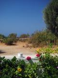Sifnos wyspy sceny filiżanki kawy bielu Grecka ściana z jesienią obrazy royalty free