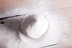 Sifted flour on the table Stock Photo