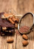 Sifter with cocoa and chocolate Royalty Free Stock Images
