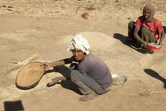 Sifting grain, Ethiopia Stock Images