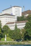 SIG Buildings in Neuhausen morgens Rheinfall Stockfotos