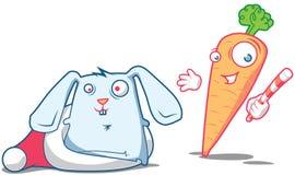 Sig. Carrot e coniglio che fanno il Natale magico Immagine Stock