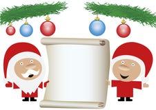 Sig. e sig.ra il Babbo Natale che tiene un rol del documento in bianco illustrazione vettoriale