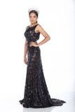 Sig.na Pageant Contest in vestito da palla lungo dell'abito di palla di sera con la D fotografia stock