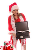 Sig.ra Santa Laptop Fotografia Stock Libera da Diritti