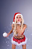 Sig.ra sexy Santa With Snow Immagini Stock Libere da Diritti