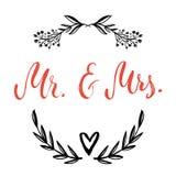 Sig. & sig.ra E, simbolo di segno & Sposa e sposo parole di nozze immagine stock libera da diritti