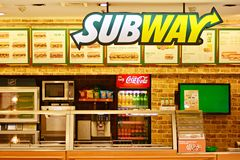 Sig Subway. Company signboard Subway. royalty free stock photo
