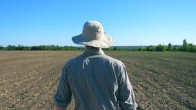 Siga al granjero de sexo masculino joven irreconocible en sombrero que camina a través de los pequeños brotes verdes en su campo  almacen de video