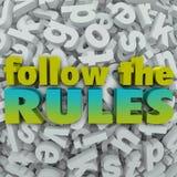 Siga as diretrizes dos regulamentos do fundo 3D da letra das regras ilustração do vetor