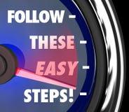 Siga estas instruções fáceis do velocímetro das etapas como aos Adv das pontas Fotografia de Stock Royalty Free