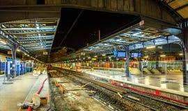 Siga los trabajos de ingeniería en París-Est el ferrocarril, Francia Fotos de archivo libres de regalías