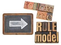 Siga me y el modelo Imagen de archivo libre de regalías