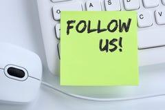 Siga-nos busine social dos trabalhos em rede dos gostos dos fãs dos seguidores do seguidor foto de stock royalty free