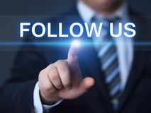 Siga-nos conceito em linha do Internet do negócio do mercado dos seguidores sociais dos meios fotografia de stock