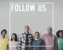 Siga-nos conceito social do Internet dos trabalhos em rede dos meios fotos de stock royalty free