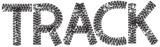 Siga o texto com as letras feitas das trilhas do pneu da motocicleta Imagens de Stock Royalty Free