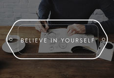 Siga seus sonhos acreditam no senhor mesmo fazem-no acontecer conceito Imagens de Stock Royalty Free