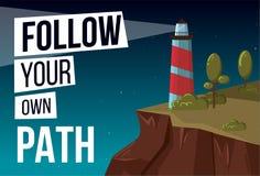 Siga su propia bandera del vector de la trayectoria con el faro ilustración del vector