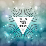 Siga su sueño - cita inspirada Marco tribal del estilo del boho Fotografía de archivo libre de regalías