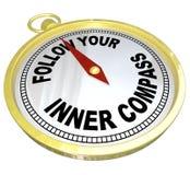 Siga sus direcciones internas del compás para el éxito Imagen de archivo libre de regalías