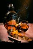 Sigaar en Cognac royalty-vrije stock fotografie