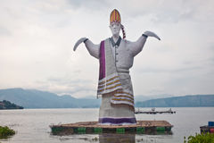 Sigale-gale. Photos of a giant puppet stand up straight on the edge of Lake Toba-North Sumatera, is a tribal tradition and culture of Bataknese, they named Stock Photo