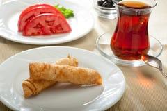 Sigara Boregi mit Tee lizenzfreies stockfoto