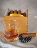 Sigaren, cognac en parels Royalty-vrije Stock Afbeelding
