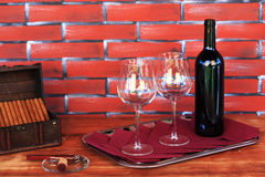 Sigaren en wijn Royalty-vrije Stock Foto