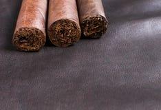 Sigaren op de achtergrond van het luxeleer Royalty-vrije Stock Afbeelding
