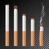 Sigaret Vastgestelde Vector Realistisch sigaretuiteinde Verschillende Stadia van Brandwond Illustratie Het branden het Klassieke  royalty-vrije illustratie