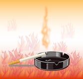 Sigaretta dell'insegna - pericolo d'incendio Immagini Stock