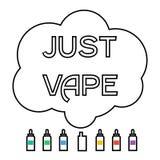 Sigaretta elettronica con liquido e nuvola che vaping Immagine Stock