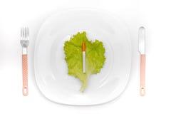 Sigaretta sul piatto di pranzo Fotografia Stock Libera da Diritti