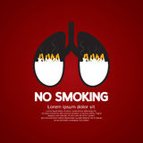 Sigarette Ash In Lung-No Smoking Concept Immagine Stock