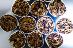 Sigarette bianche Lato del tabacco Cenni storici a macroistruzione fotografia stock libera da diritti