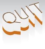 Sigarette che ortografano la parola RINUNCIATA Fotografie Stock