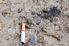 Sigarette su suolo e su rocce aridi fotografia stock