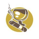 Sigaro e vetro per il logotype del whiskey o del vino su bianco illustrazione di stock