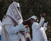 Sigd - An Ethiopian Jews Holyday. JERUSALEM - OCT 31: Ethiopian Jewish men pray at the Sigd - Oct. 31, 2013 in Jerusalem, Israel. The Sigd is an annual holyday Royalty Free Stock Photo